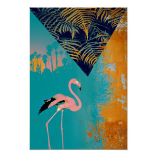 Tropical Grunge Summer Flamingo Poster