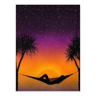 Tropical Hammock Sunset Silhouette Design 17 Cm X 22 Cm Invitation Card