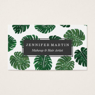 Tropical Hand Painted Swiss Cheese Plant Leaves Business Card