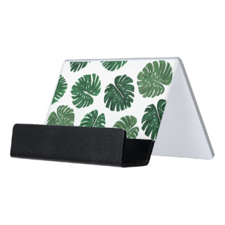 Tropical Hand Painted Swiss Cheese Plant Leaves Desk Business Card Holder