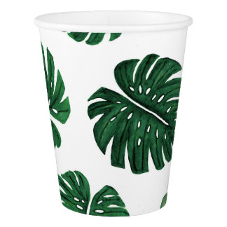 Tropical Hand Painted Swiss Cheese Plant Leaves Paper Cup