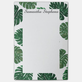 Tropical Hand Painted Swiss Cheese Plant Leaves Post-it Notes