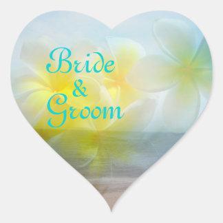 Tropical Haven Bride & Groom Plumeria Wedding Heart Sticker