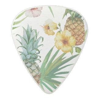 Tropical hawaii theme watercolor pineapple pattern acetal guitar pick