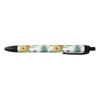 Tropical hawaii theme watercolor pineapple pattern black ink pen