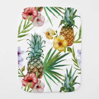 Tropical hawaii theme watercolor pineapple pattern burp cloth