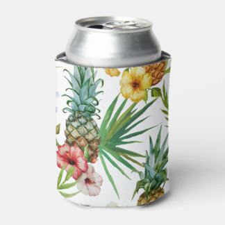 Tropical hawaii theme watercolor pineapple pattern can cooler