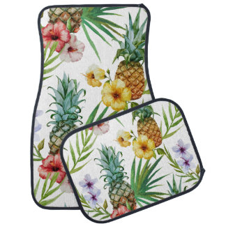 Tropical hawaii theme watercolor pineapple pattern car mat