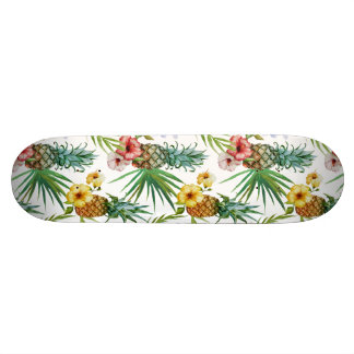 Tropical hawaii theme watercolor pineapple pattern custom skate board