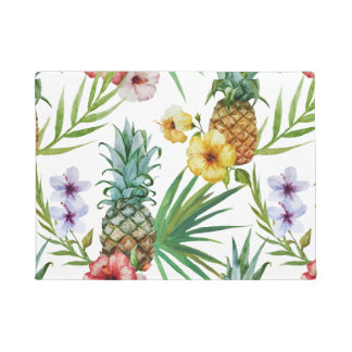 Tropical hawaii theme watercolor pineapple pattern doormat