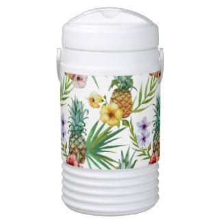 Tropical hawaii theme watercolor pineapple pattern drinks cooler