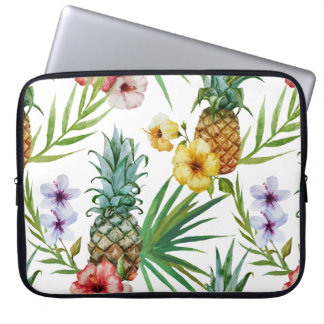 Tropical hawaii theme watercolor pineapple pattern laptop sleeve
