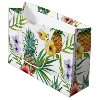Tropical hawaii theme watercolor pineapple pattern large gift bag