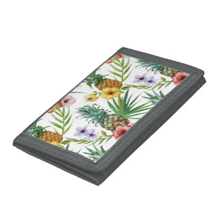 Tropical hawaii theme watercolor pineapple pattern tri-fold wallet
