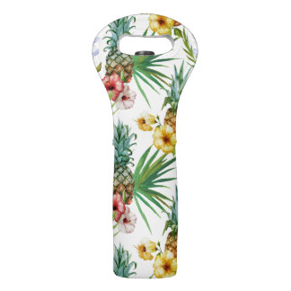 Tropical hawaii theme watercolor pineapple pattern wine bag