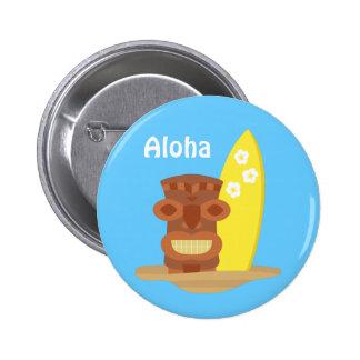 Tropical Hawaii Tiki Beach Surfboard Pinback Buttons