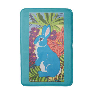 Tropical Hawaiian Bunny Rabbit Designer Bath Mat