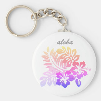 Tropical Hawaiian Floral Hibiscus Aloha Script Key Ring