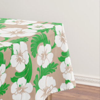 Tropical Hawaiian Hibiscus Floral Khaki Beige Tablecloth