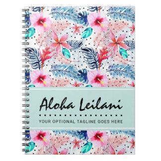 Tropical Hawaiian Hibiscus & Palm Leaf Watercolor Notebook