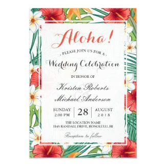 Tropical Hawaiian Hibiscus Wedding Celebration 13 Cm X 18 Cm Invitation Card