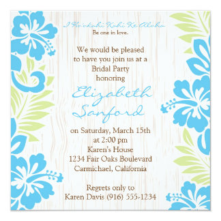 Tropical Hawaiian Invitation Turquoise