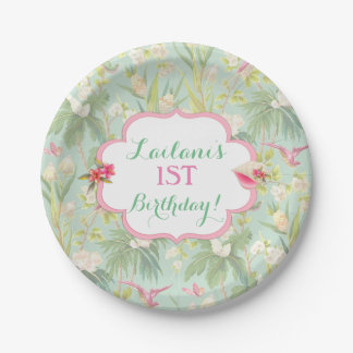 Tropical Hawaiian Luau Hibiscus Flowers Paper Plate