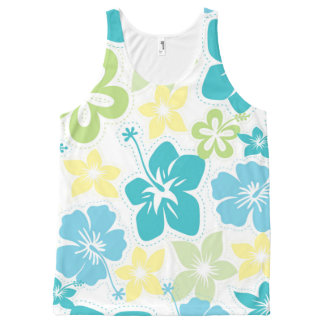 Tropical Hawaiian Luau Hibiscus tank top All-Over Print Tank Top