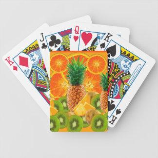 tropical  HAWAIIAN PINEAPPLE & ORANGE SLICES KIWI Bicycle Playing Cards