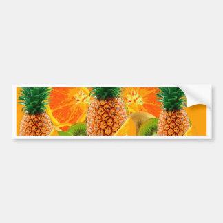 tropical  HAWAIIAN PINEAPPLE & ORANGE SLICES KIWI Bumper Sticker
