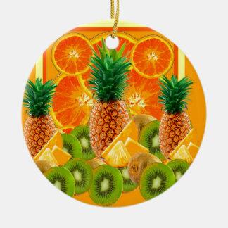 tropical  HAWAIIAN PINEAPPLE & ORANGE SLICES KIWI Ceramic Ornament