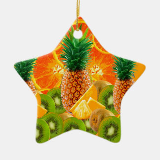 tropical  HAWAIIAN PINEAPPLE & ORANGE SLICES KIWI Ceramic Ornament