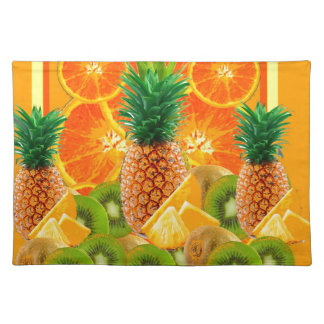 tropical  HAWAIIAN PINEAPPLE & ORANGE SLICES KIWI Placemat