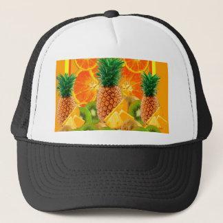 tropical  HAWAIIAN PINEAPPLE & ORANGE SLICES KIWI Trucker Hat