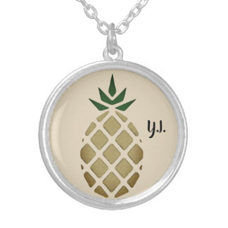 Tropical Hawaiian Pineapple Stencil (Personalized) Silver Plated Necklace