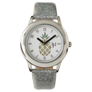 Tropical Hawaiian Pineapple Stencil (Personalized) Watch