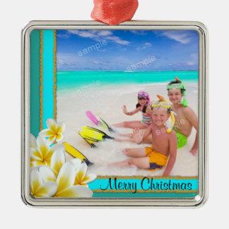 Tropical Hawaiian Plumeria Holiday Photo Ornament