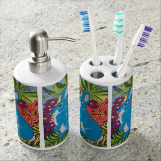 Tropical Hawaiian Rabbit Toothbrush and Soap Set
