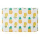 Tropical Hawaiian Watercolor Pineapple Patterned Bath Mat