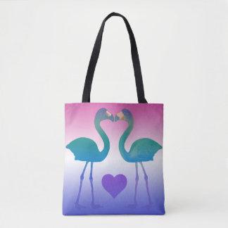 """Tropical Heart Flamingos"" Tote Bag (Teal-Purple)"