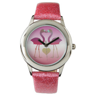 """Tropical Heart Flamingos"" Wrist Watch (Rose-Ylw)"