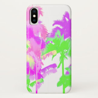 Tropical Heat Wave Neon Hawaiian Palm Trees iPhone X Case