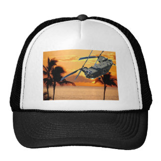 Tropical Helicopter Trucker Hats