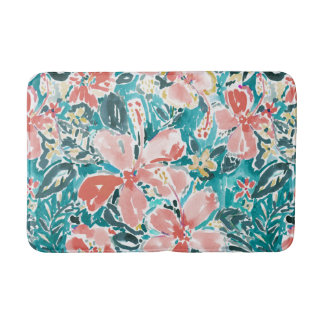 Tropical Hello Hibiscus Watercolor Floral Pattern Bath Mat