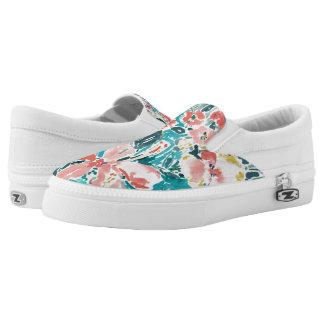 Tropical Hello Hibiscus Watercolor Floral Pattern Printed Shoes