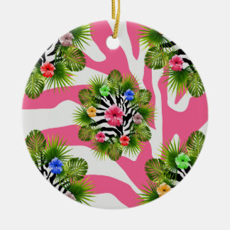 Tropical hibiscus and exotic pink zebra stripes ceramic ornament