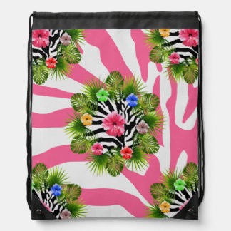 Tropical hibiscus and exotic pink zebra stripes drawstring bag