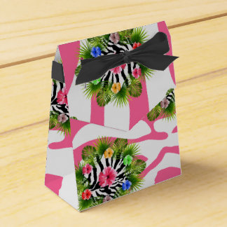 Tropical hibiscus and exotic pink zebra stripes favour box