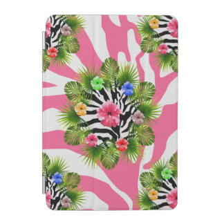 Tropical hibiscus and exotic pink zebra stripes iPad mini cover