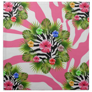 Tropical hibiscus and exotic pink zebra stripes napkin
